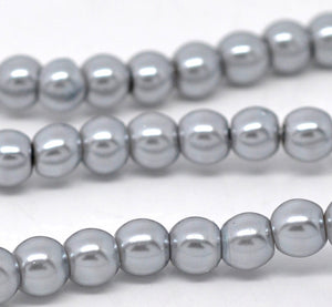 "Beads Glass Round Pearl Painted 8mm Strand 16"" Silver Grey"