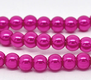 Round Glass Pearl Painted Czech Loose Beads for Jewelry Making 8mm Fuchsia Beads 30pcs