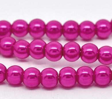 Beads Glass Round Pearl Painted 6mm Strand 16