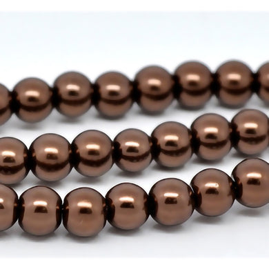 Bulk 1500pcs Czech Style Pressed Glass Satin Painted Round Strand Beads Beading Jewelry Making 6mm Brown 20 strands 75pcs per string