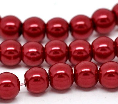 Round Glass Pearl Painted Czech Loose Beads for Jewelry Making 8mm Red Beads 30pcs