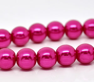 "Beads Glass Round Pearl Painted 10mm Strand 16"" Fuschia"