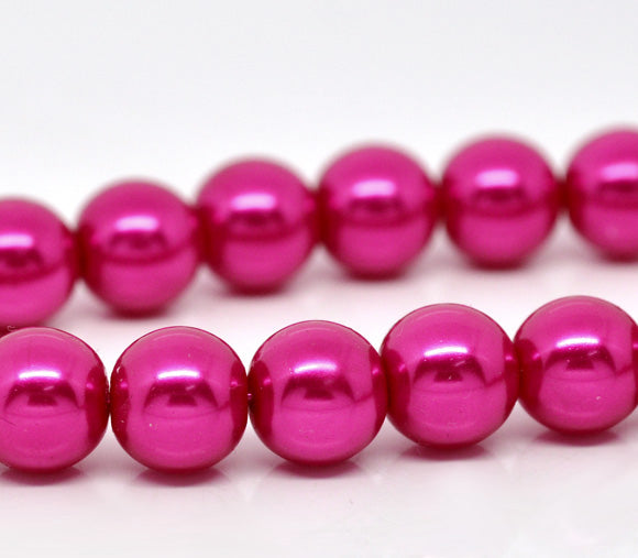 Beads Glass Round Pearl Painted 10mm Strand 16
