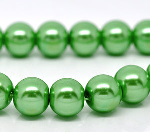 "Beads Glass Round Pearl Painted 10mm Strand 16"" Green"