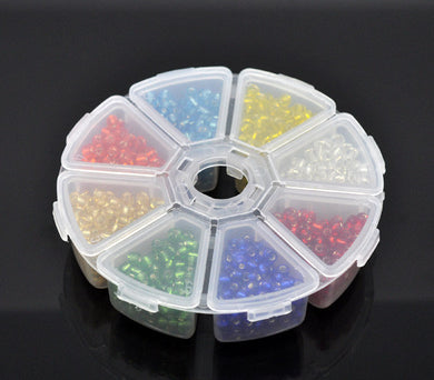 Mixed Foil Seed Beads for Jewelry Making 6/0+Storage Box, 100 grams per unit