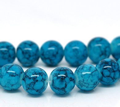 Beads Glass Strand 10mm Crackle Blue 15