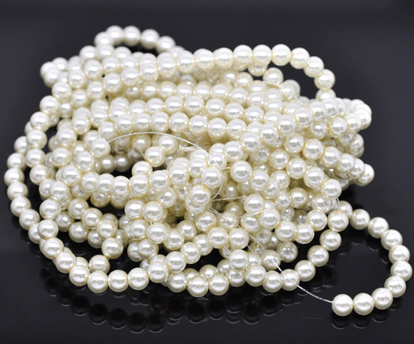 Beads Glass Round Pearl Painted 8mm Strand 16