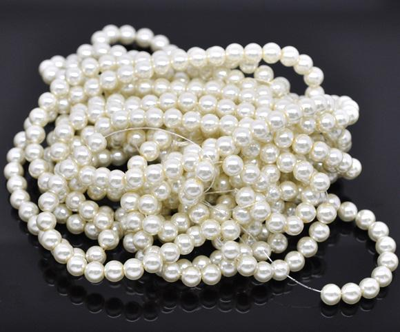 Bulk 840pcs Czech Style Pressed Glass Satin Painted Round Strand Beads Beading Jewelry Making 8mm Ivory 15 strands 56pcs per string