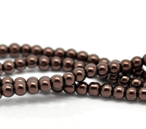"Beads Glass Round Pearl Painted 4mm Strand 16"" Brown"