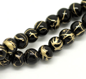 "Glass Beads Round Drawbench 6mm Black 15.5"" Strand Decorative"