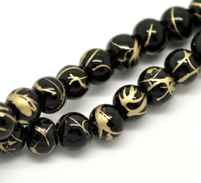 Glass Beads Round Drawbench 6mm Black 15.5