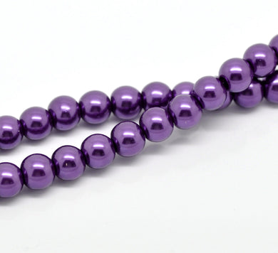 Beads Glass Strand 8mm Pearl Purple Dark 16