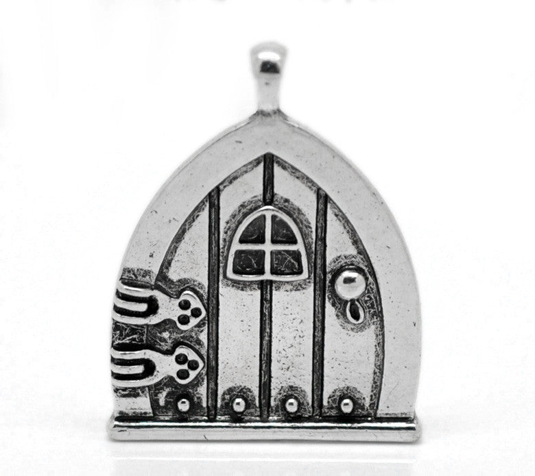 AVBeads Celtic Charms Fairy Door Silver 35mm x 27mm Metal Charms 1pc