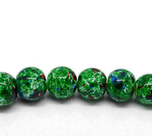 Load image into Gallery viewer, Beads Glass Strand 10mm Mottled Green 15""