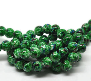Beads Glass Strand 10mm Mottled Green 15""