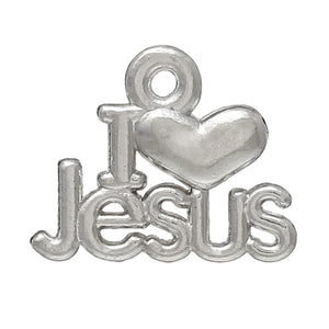 AVBeads Jesus Charms Heart Silver 16mm x 13mm Metal Charms 10pcs