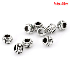 AVBeads Metal Beads Loose Rondelle Spacer Beads 7mm x 5mm Silver 10pcs