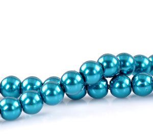 Round Glass Pearl Painted Czech Loose Beads for Jewelry Making 8mm Blue Beads 30pcs
