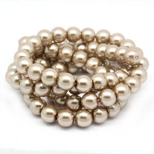 "Beads Glass Round Pearl Painted 10mm Strand 16"" Brown"