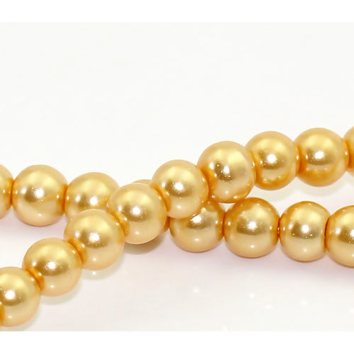 Round Glass Pearl Painted Czech Loose Beads for Jewelry Making 6mm Champagne Gold Beads 30pcs