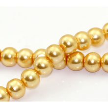 Load image into Gallery viewer, Round Glass Pearl Painted Czech Loose Beads for Jewelry Making 8mm Champagne Gold Beads 30pcs
