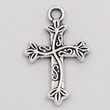 Load image into Gallery viewer, AVBeads Cross Silver Vine Pattern 25mm x 16mm Zinc Alloy Metal Charms 10pcs