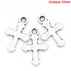 Charms Cross Silver 19x13mm 100pcs