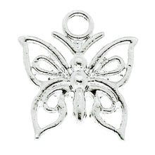 Load image into Gallery viewer, AVBeads Nature Butterfly C Silver 15mm x 13mm Metal Charms 4pcs