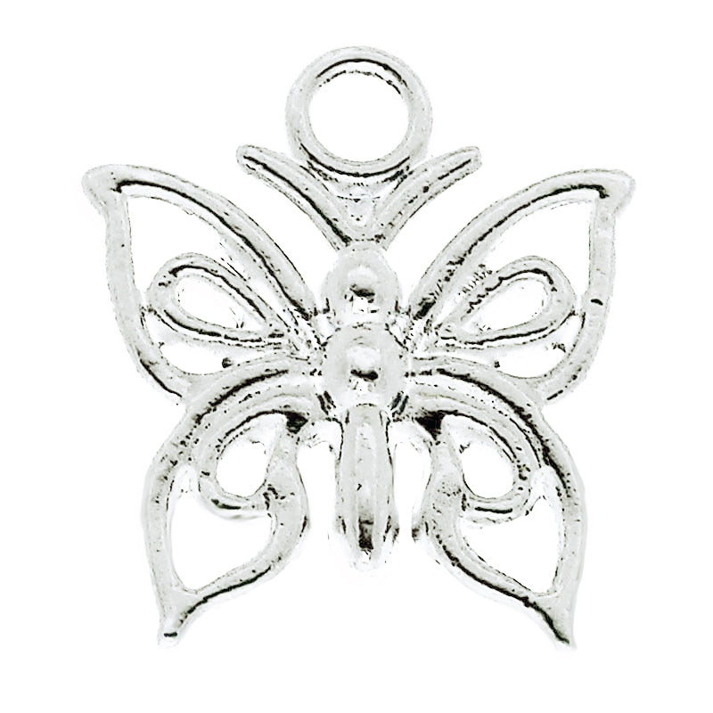 AVBeads Nature Butterfly C Silver 15mm x 13mm Metal Charms 4pcs