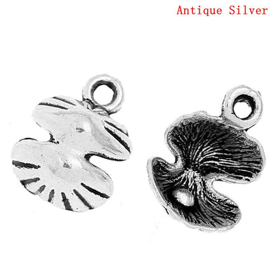 AVBeads Beach Charms Sea Shell Charms Silver 14mm x 11mm Metal Charms 4pcs