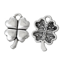 Load image into Gallery viewer, AVBeads Nature Celtic Luck Clover Silver 15mm x 11mm Metal Charms 10pcs