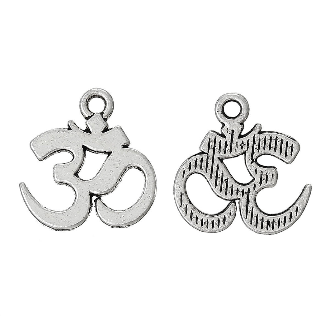 AVBeads Pagan Charms Om Ohm Charms Silver 15mm x 14mm Metal Charms 10pcs