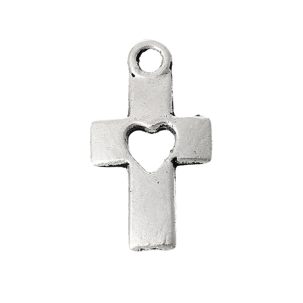 AVBeads Cross Charms Heart Silver 18mm x 10mm Metal Charms 10pcs
