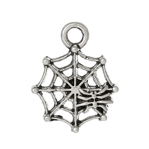AVBeads Insect Spider Web Charms Silver 17mm x 13mm Metal Charms 10pcs