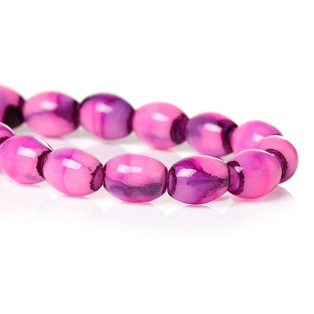 Beads Glass Oval 8mm x 6mm Pink 10pcs Loose