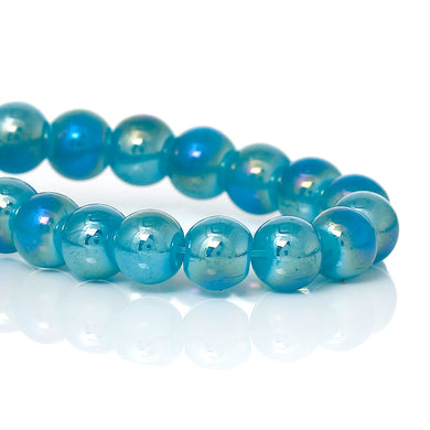 Beads Glass Strand 6mm AB Blue 16
