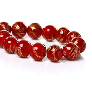 Beads Glass Strand 10mm Drawbench Red 15.5