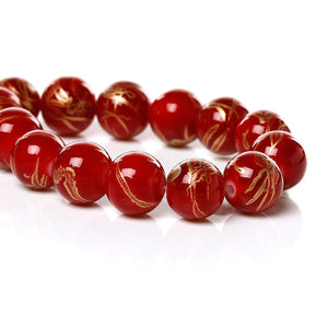 Beads Glass Strand 10mm Drawbench Red 15.5""