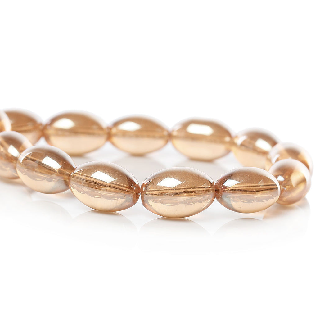 Beads Glass Oval 15mm x 10mm Champagne Gold AB 10pcs Loose