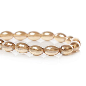 Beads Glass Oval 8mm x 6mm Champagne Gold AB 10pcs Loose