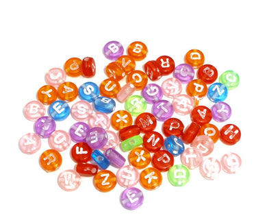 Beads Acrylic Spacer Alphabet 7mm Multi-Color 100pcs