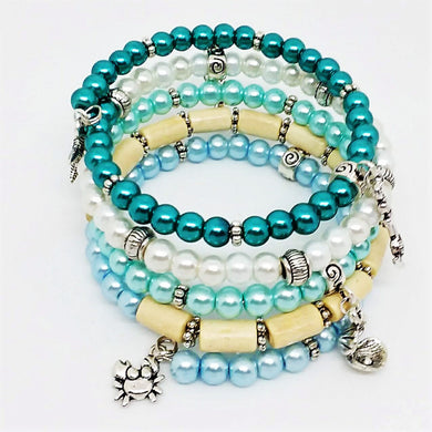 AVBeads Beaded Memory Wire Bracelet Wrap 5Layer Charm Bracelet Beach Charms Handmade
