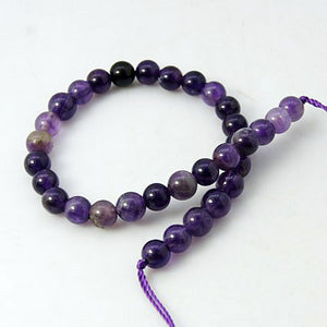 "Beads Natural Stone Round Amethyst 6mm Strand 7.6"" Purple"