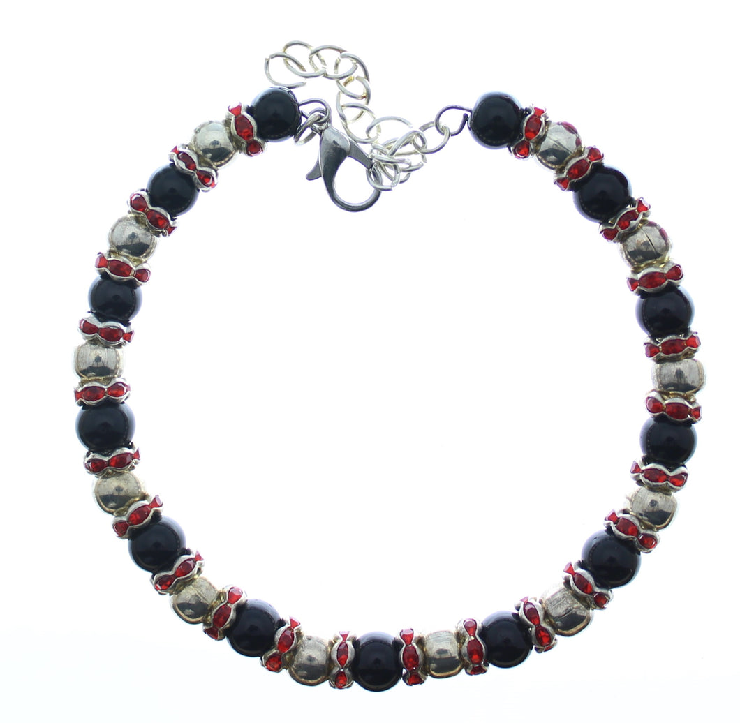 Bracelet Memory Wire Bracelet Beaded Black Silver with Red Rhinestones, Clasp and Chain JWL-BMWBCC-BSRR