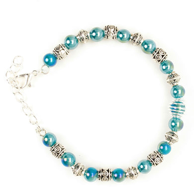 Bracelet Memory Wire Bracelet Beaded Blue Silver with Clasp and Chain JWL-BMWBCC-BS1 - Free Shipping