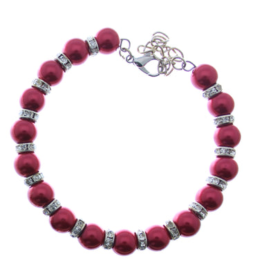 Bracelet Memory Wire Bracelet Beaded Red with Rhinestones, Clasp and Chain JWL-BMWBCC-RRC