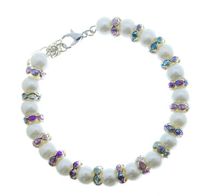 Bracelet Memory Wire Bracelet Beaded White with Rhinestones, Clasp and Chain JWL-BMWBCC-WRCAB