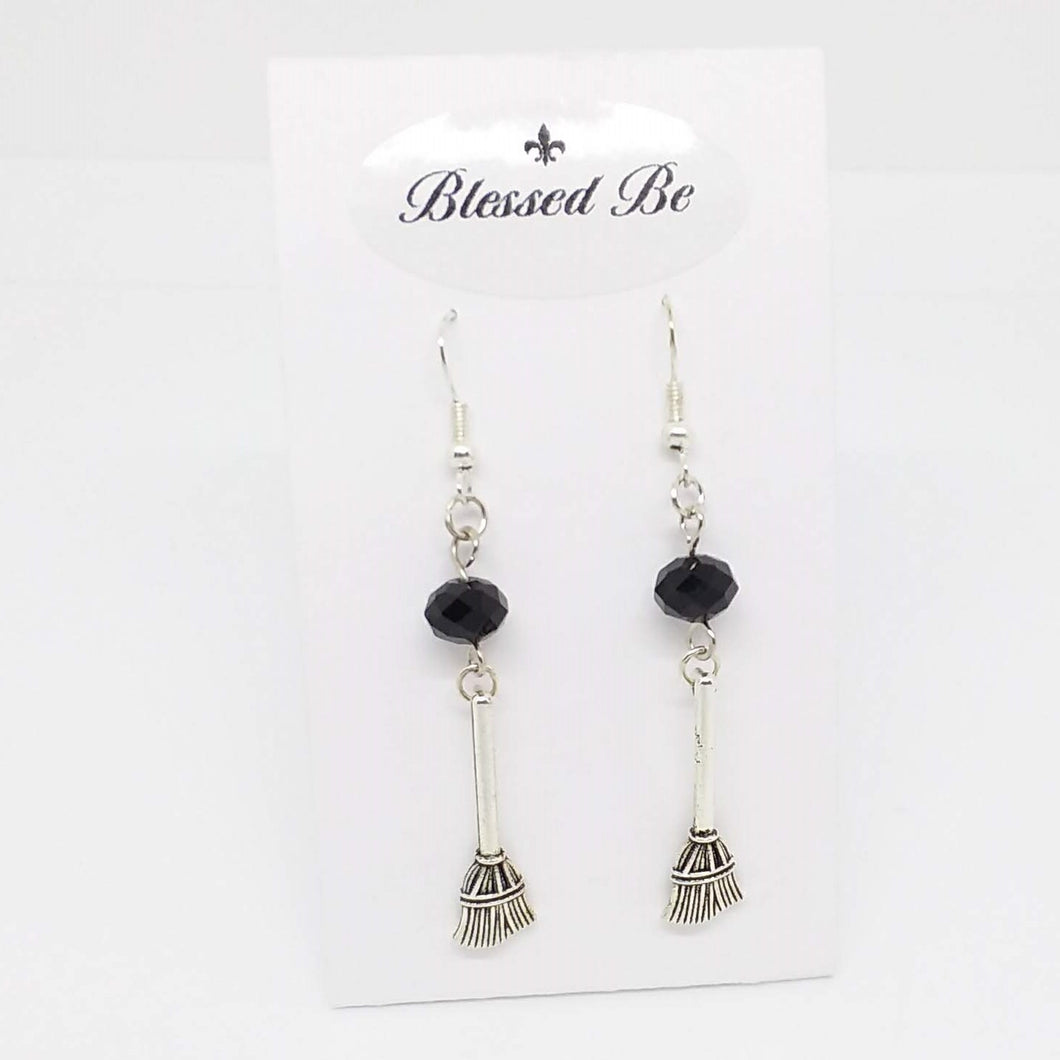 AVBeads Jewelry Charm Earrings Dangle Silver Hook Beaded Black Broom