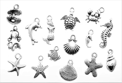 AVBeads Mixed Charms Beach Charms Silver Metal 3301 15pcs