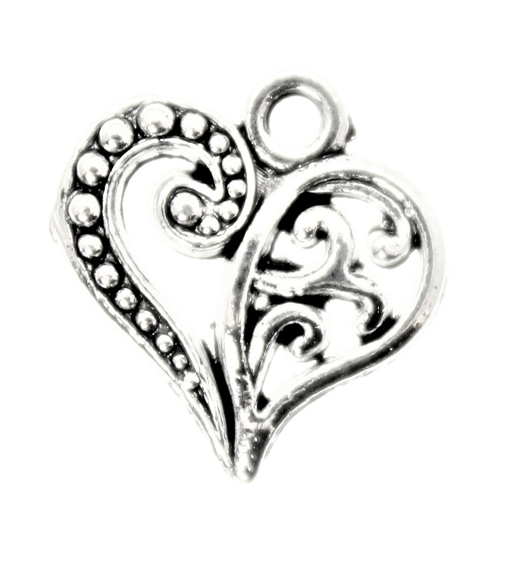 AVBeads Heart Charms Decorative Silver 13mm x 14mm CHM00125 100pcs